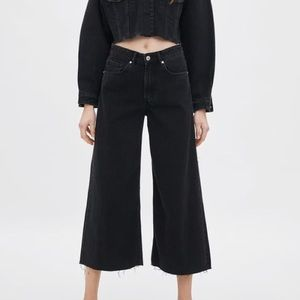 Zara High Waisted Denim Culotte Jeans
